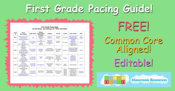 First Grade Pacing Guide- Free! (Editable, Common Core Aligned
